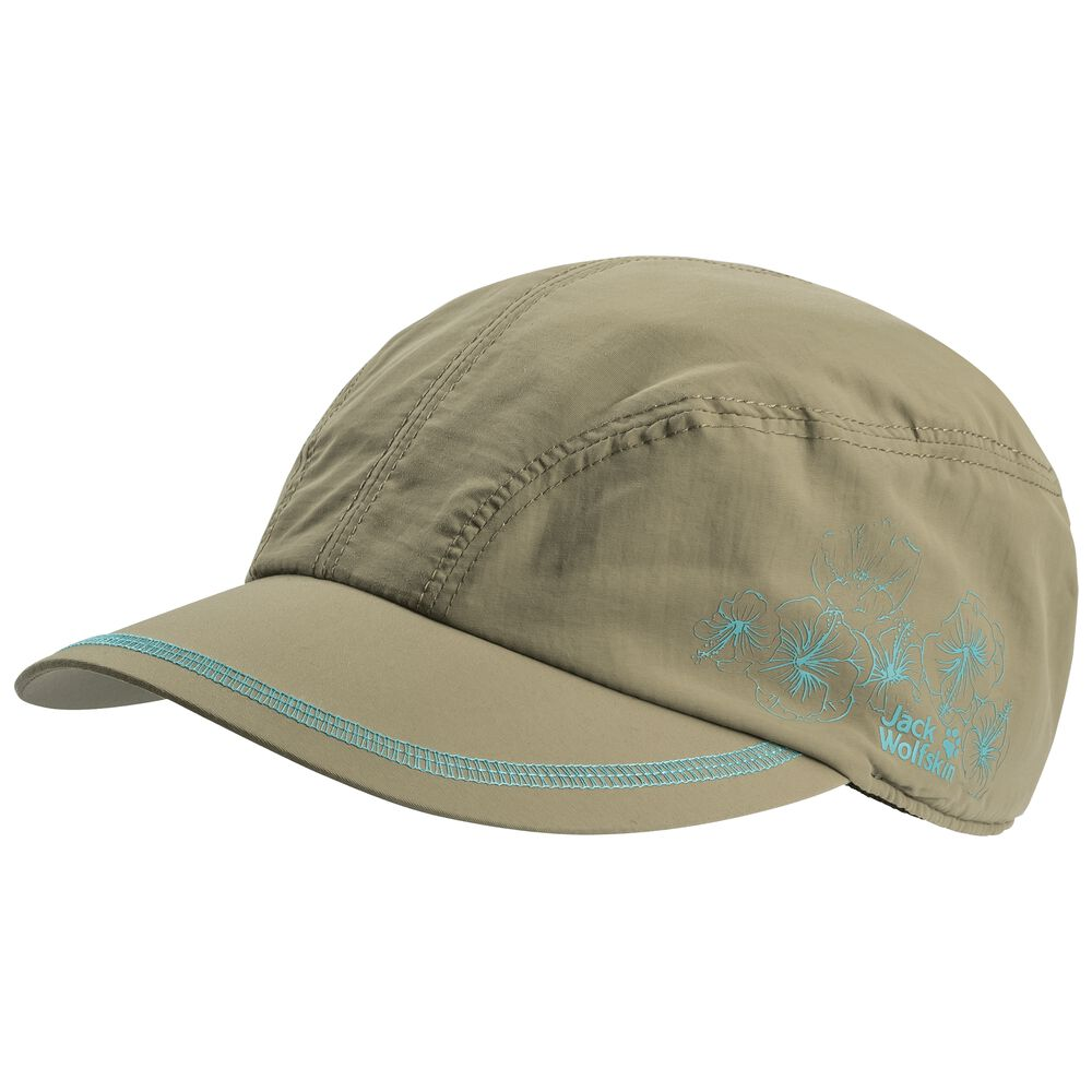 Jack Wolfskin Supplex Hibiscus Cap Women Sonnenkappe Frauen S grün khaki   Accessoires > Caps > Sonstige Caps   Jack Wolfskin