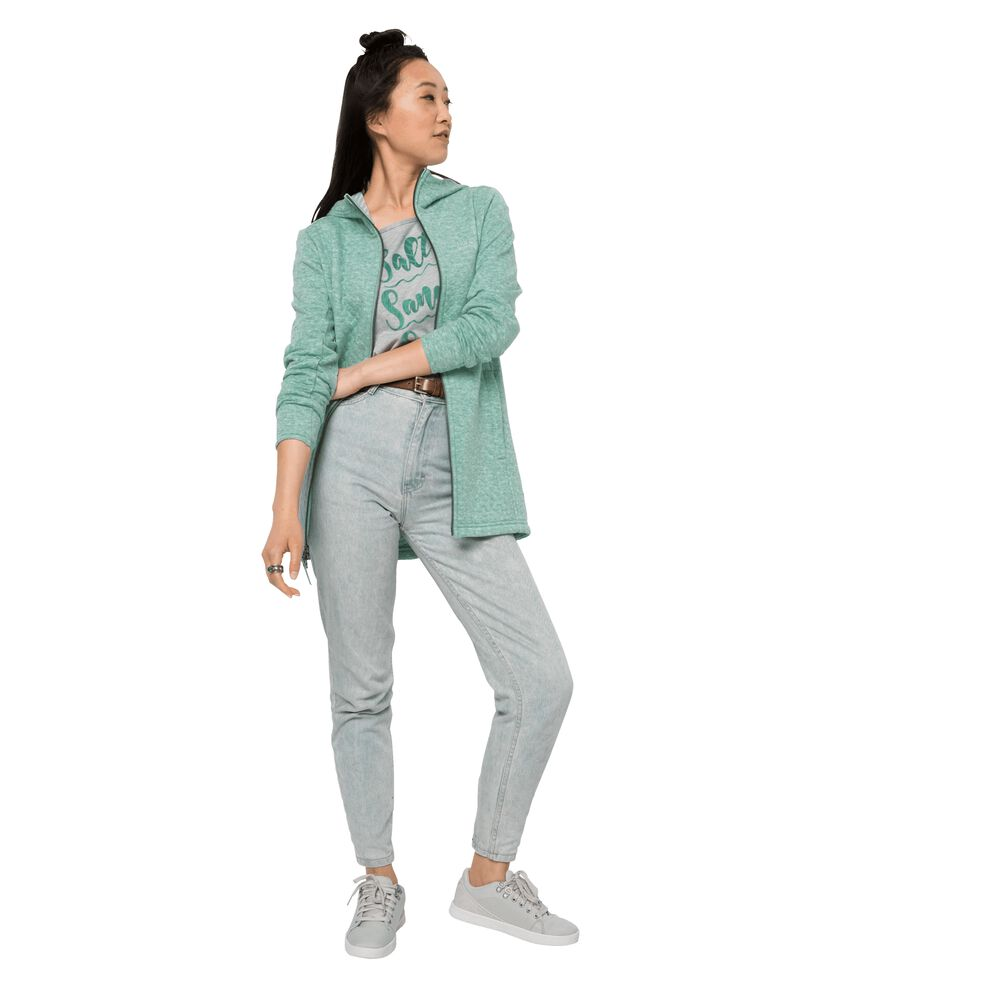 Jack Wolfskin Fleecemantel Frauen Mila Hooded Jacket Women XXL blau light jade | Sportbekleidung > Sportmäntel > Fleecemäntel | Jack Wolfskin