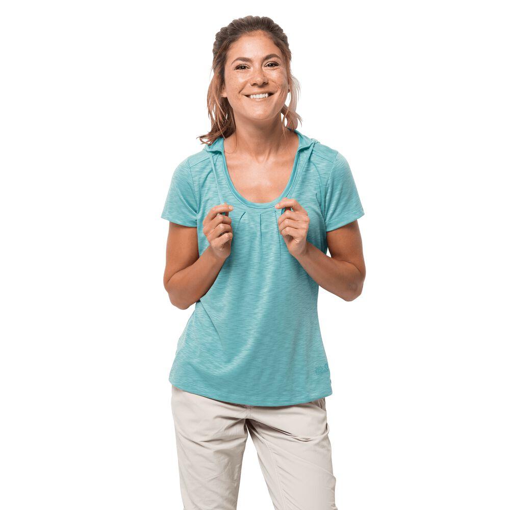 Jack Wolfskin Funktionsshirt Frauen Travel Hoody T-Shirt Women XXL blau | Bekleidung > Shirts > Funktionsshirts | Aqua | Jack Wolfskin